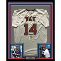 FRAMED Autographed/Signed JIM RICE 33x42 Boston White Baseball Jersey JS... - $424.99