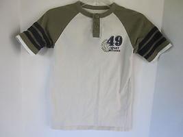 Boys TKS Beige Baseball Short Sleeve Shirt Size L - $6.79