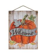 Beautiful Harvest Welcome Sign Thanksgiving Pumpkins Fall hanging  - $55.00