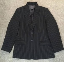 Womens Laura Scott Black Pin Striped Blazer Business Jacket Career Size 14 - $25.00