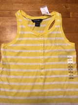 NWT Ralph Lauren Girl's Yellow & White Striped Sleeveless Shirt - Large 12/14 image 2
