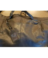 BLACK, FAUX LARGE LEATHER CARRYING BAG - $16.20