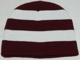 Sportsman Burgendy White Stripped Winter Hat Scarf Set Acrylic image 3