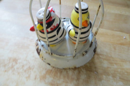 old angry birds in jail cage hand painted Fitz & Floyd in salt&pepper sh... - $61.75