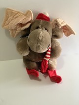 "Heritage Collection Ganzbros Plush Moose on Red Skis 8"" Vintage 1985 - $12.37"