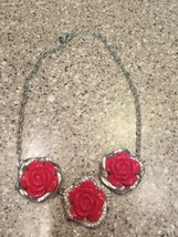 Vintage NY necklace silver tone red roses some bling - $12.86