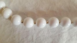 """VINTAGE WHITE BEADED STRAND NECKLACE, GOLD SPACERS, SPRINGRING CLASP, 28"""" - $4.94"""