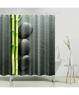 """SHOWER CURTAIN.   GREY + GREEN BAMBOO SHOOTS  WITH PEBBLES. NEW 72 X 72"""" - $19.40"""