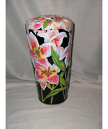 Vintage MetalWare Pasta Spaghetti Canister Cannister Pink Orchids Lid NICE - $34.65