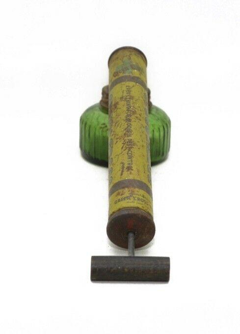 Vintage Green Cross Pump Bug Sprayer Green Glass Jar Wooden Handle USA