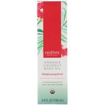 Nutiva, Organic Coconut Body Oil, Blissful Grapefruit, 3.4 fl oz (100 ml) - $14.00