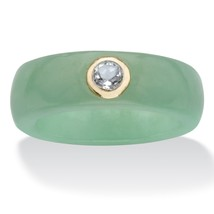 .30 TCW Solid 10k Yellow Gold Genuine Green Jade and White Topaz Ring - $39.99