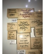 Rubber Stamp on Wood Vintage lot of 23 Cute sayings , Words and Phrases!  - $28.04