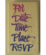 Rubber Stampede Stamp PARTY PLANS Z588E 2.75 x 1.5 inches Posh Impressions - $2.59