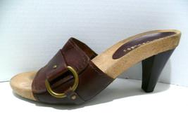 Aerosoles sz 7.5 Brown Leather Slip On Open Toe Block Heel Sandal Shoe (ax) - $11.39