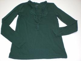 W13655 Womens ANN TAYLOR LOFT Forest Green Polka Dot Ruffle SHIRT Long S... - $23.16