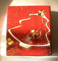 Studio Nova Gold Trimmed Christmas Tree Candy/Condiment Glass Dish-NIB - $5.99