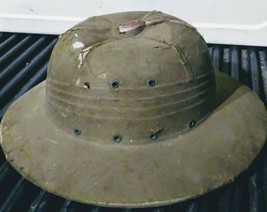 WWII Pith Helmet Authentic Vintage Green Military Campaign Piece Rare - $65.00