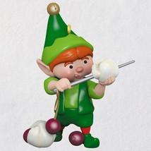 North Pole Tree Trimmers Popcorn Stringing Elf  2018 Hallmark Ornament - $22.76