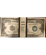 $200,000 In Prop/Play Money 1928 $10,000 Bills USA Actual Size Salmon Chase - $10.99