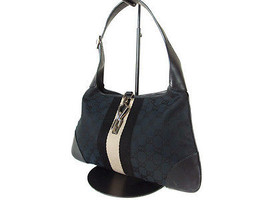 Auth GUCCI GG Pattern Canvas, Leather Black Sho... - $147.51