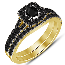 Yellow Gold Over 925 Sterling Pure Silver Round Black Diamond Bridal Ring Set - $94.99
