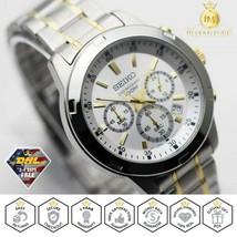 Seiko Men's Watch Chronograph Quartz White Dial Stainless Steel Two Tone SKS607 - $164.90