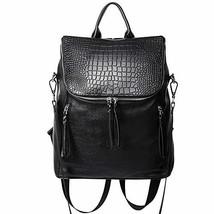 Genuine Leather Women Backpack Purse Fashion Large Designer Travel Ladie... - $110.51