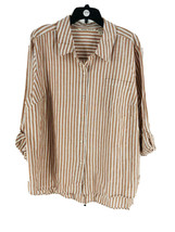 Rachel Hollis Women's Burnt Sienna Striped Button Front Blouse Size 24 P... - $34.65
