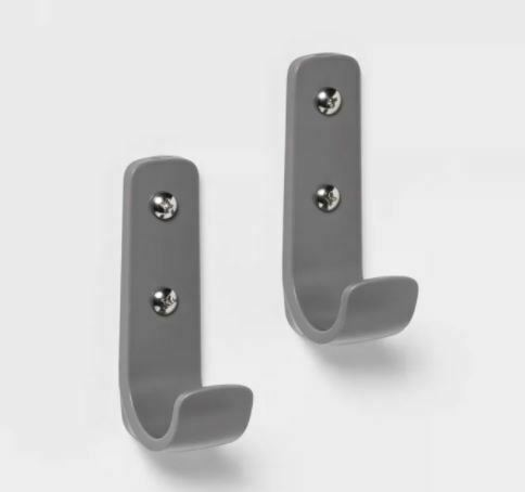 Room Essentials - 2pk Plastic Wall Decorative Hooks Gray  - new sealed store-