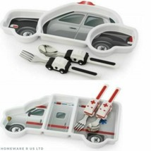 BABY 18+ MONTHS KITCHEN GIFT SET POLICE MEDIC CARS DINNER PLATE CUTLERY SET - $12.50
