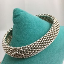 "7"" SMALL Tiffany & Co Sterling Silver Somerset Mesh Weave Bangle Bracelet - $249.00"