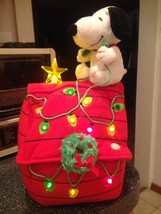 Peanuts Snoopy Soft Plush Christmas Musical Light Up Dog House w Star Rare  - $49.99