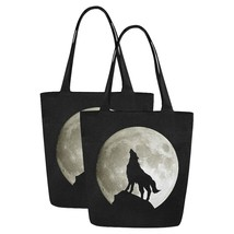 Set of TWO Wolf Silhouette and the Moon Canvas Tote Bag Two Sides Printing - $29.99