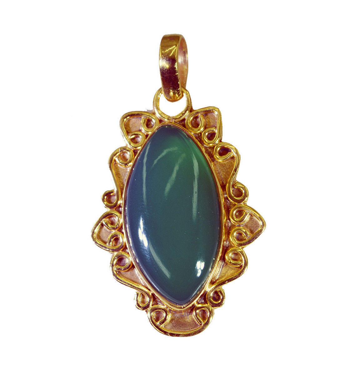 splendid Green Onyx Gold Plated Green Pendant Fashion india US