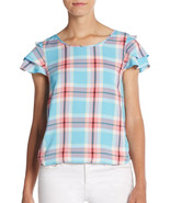 Kensie multi-color flutter-sleeve plaid shirt, blue and pink, size S - $17.37