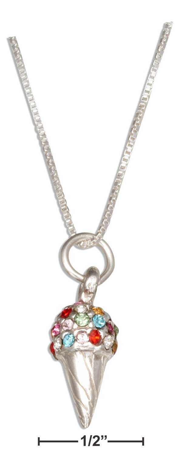 "Cone Necklace Sterling Silver 18"" Rainbow Swarovski Crystal Ice Cream Cone"