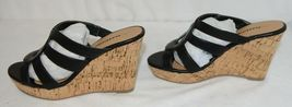 City Classified Layka S Black Sandal Wedge Heel Size 6 And Half image 5