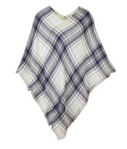 Le Nom Classic Plaid Check Pattern Poncho (Super Soft Plaid Navy) - $18.80