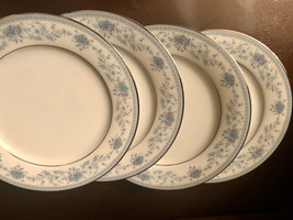 """Noritaki Blue Hill CONTEMPORARY China 4 Luncheon Plates 8.25""""  Silver Tr... - $17.50"""