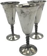 Vintage Set Of 3 VALERO Silver Plate 8 Oz Wine Goblets - Made in Spain 7... - $40.25