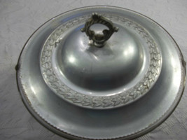 Vintage Ornamental Aluminum Covered Dish With,Pyrex Insert glass metal - $32.67