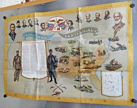 "VINTAGE 1960's CIVIL WAR CENTENNIAL MURAL MAP~RARE~FREE SHIPPING 41""X 28"" - $19.94"