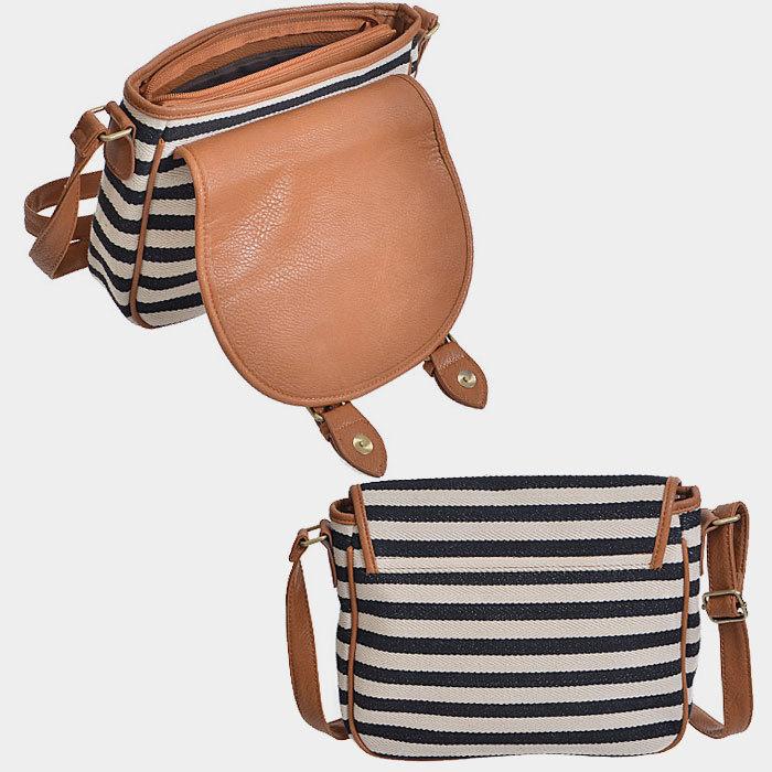 Ivory, Black & Brown Stripe Crossbody Bag Purse 293965