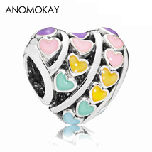 New Style Sterling 925 Silver Multi-Color Love Heart Charm Mix Color Ena... - $24.85