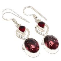 """Pink Amethyst, Garnet Gemstone Jewelry Earring 2.0"""" RJ4121 - $6.99"""
