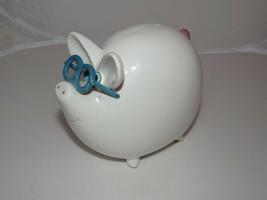 "Vintage  White Ceramic Piggy Bank W/Glasses 6""L x 5.5""Tall - $14.70"