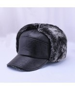 "Winter Men""s Leather Hat Thicken Leather Cowhide Baseball Caps With Ears... - £8.85 GBP"