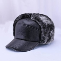"""Winter Men""""s Leather Hat Thicken Leather Cowhide Baseball Caps With Ears... - $11.40"""