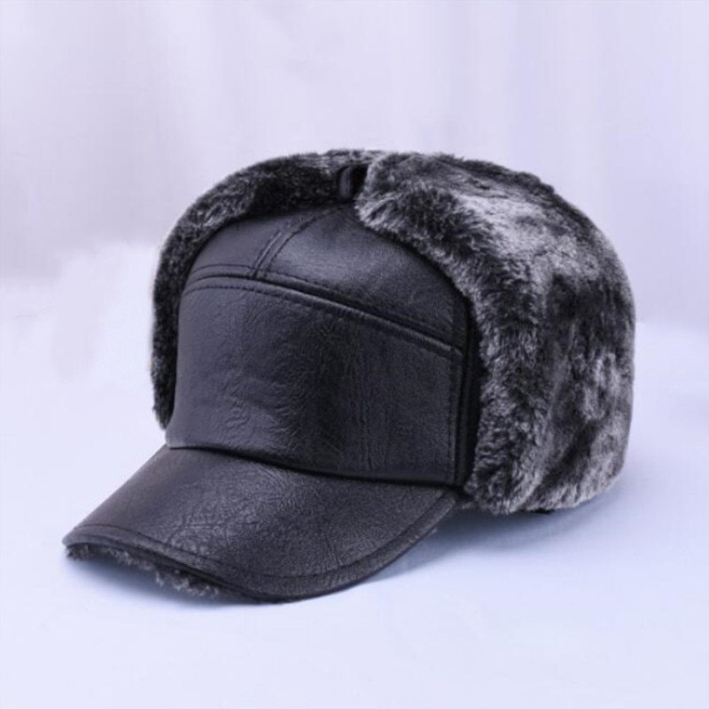 "Primary image for Winter Men""s Leather Hat Thicken Leather Cowhide Baseball Caps With Ears Warm Sn"